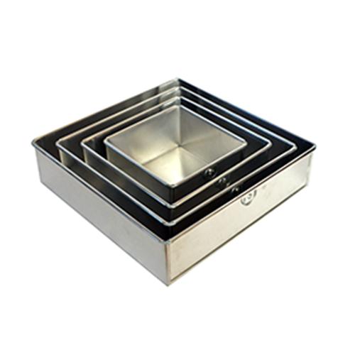 4 Tier Square Aluminium Cake Tin Baking Pan 6 8 10