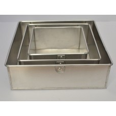 3 Tier Square Aluminium Cake Tin Baking Pan 6 - 8 - 10 inch